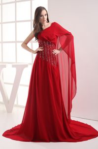 Plus Size One Shoulder Beaded Red Prom Dress Court Train in Celina OH