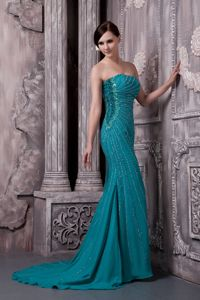 Recommended Zipper-up Beaded Teal Formal Prom Dress Court Train