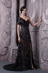 One Shoulder Black Lace Formal Prom Dress with Single Short Sleeve Designer