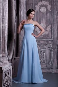 Beautiful Strapless Lace-up Chiffon Light Blue Senior Prom Dress Brush Train