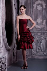 Brand New Strapless Burgundy Short Prom Dress with Pick-ups on Sale