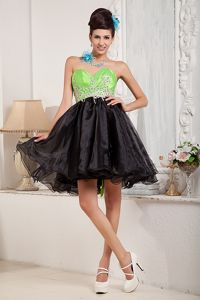 Puffy Organza Black and Spring Green Short Prom Dress in Clayton NC