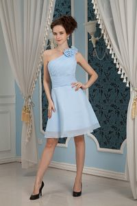 Customized One Shoulder Short Baby Blue Prom Dress with Handmade Flowers
