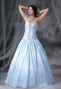 A-line Sweetheart Beaded Formal Prom Dress in Light Blue Burton USA