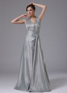 Plus Size Halter Top Appliqued Sliver Long Prom Gown Dress under 150