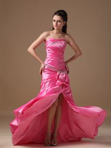 Lace-up Slitted Beaded Hot Pink Formal Prom Dresses in Boardman OH