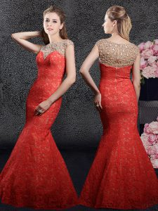 Custom Made Mermaid Red Lace Zipper Prom Gown Cap Sleeves Floor Length Beading and Lace