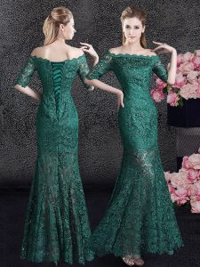 Best Mermaid Scalloped Half Sleeves Lace Dress for Prom Lace Lace Up