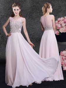 Scoop Beading Pink Zipper Sleeveless Floor Length