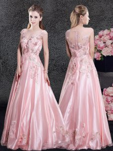 Enchanting Baby Pink Zipper Scoop Appliques Prom Gown Organza Cap Sleeves