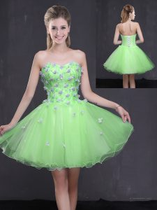 Classical Sleeveless Mini Length Appliques Lace Up Prom Party Dress with