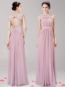 Unique Pink Chiffon Zipper Scoop Sleeveless Floor Length Evening Dress Appliques