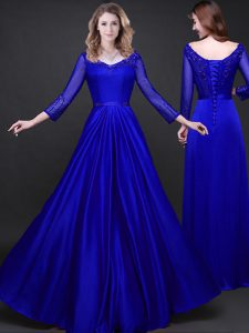 Dazzling Elastic Woven Satin Long Sleeves Floor Length Prom Dresses and Appliques and Belt