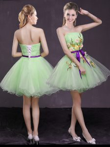 Adorable Prom and Party with Appliques and Belt Strapless Sleeveless Lace Up