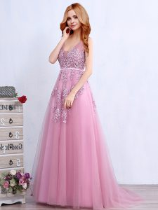 Captivating Brush Train Empire Prom Evening Gown Pink V-neck Tulle Sleeveless With Train Backless