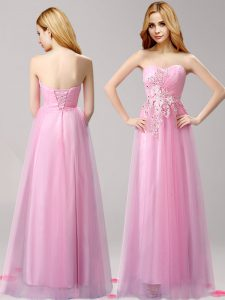 Shining Sweetheart Sleeveless Tulle Prom Gown Beading and Appliques Lace Up