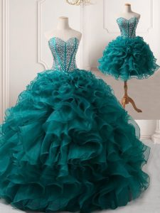 Floor Length Lace Up Prom Gown Peacock Green for Prom with Beading and Ruffles