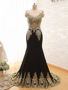 Adorable Black Scoop Neckline Beading and Appliques Evening Dress Sleeveless Side Zipper