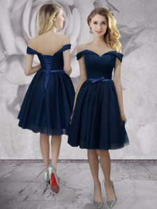 Navy Blue Off The Shoulder Neckline Bowknot Prom Dresses Sleeveless Lace Up