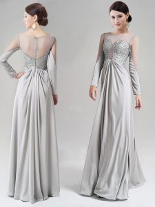 Attractive Scoop Silver Long Sleeves Floor Length Beading and Lace Zipper Prom Party Dress