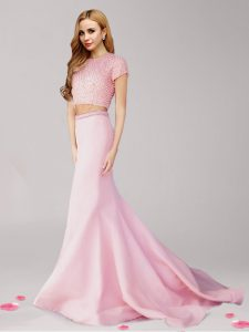 Wonderful Pink Scoop Zipper Beading Dress for Prom Brush Train Short Sleeves