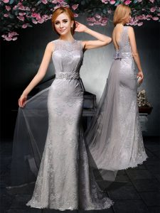 Backless Grey Sleeveless Watteau Train Lace and Belt With Train Prom Gown