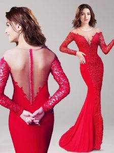 Luxury Mermaid Scoop Long Sleeves Brush Train Lace Clasp Handle Prom Party Dress