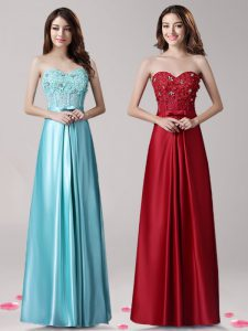 Dynamic Aqua Blue Sleeveless Floor Length Beading and Appliques and Bowknot Zipper Prom Party Dress