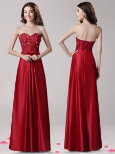 Elastic Woven Satin Sweetheart Sleeveless Zipper Beading and Appliques and Bowknot in Wine Red