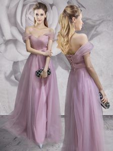 Off the Shoulder Tulle Sleeveless Floor Length and Lace and Ruching and Bowknot and Hand Made Flower