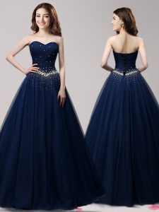 Hot Selling Navy Blue Sleeveless Floor Length Beading Lace Up Prom Party Dress