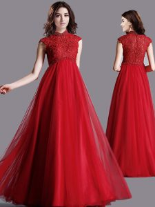 Colorful Red High-neck Zipper Lace Homecoming Dress Cap Sleeves