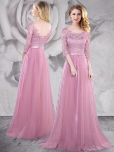 Romantic Pink Scoop Neckline Lace and Ruching Prom Evening Gown Half Sleeves Lace Up