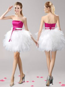 Pink And White Tulle Lace Up Strapless Sleeveless Mini Length Prom Evening Gown Ruffles and Bowknot