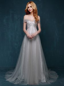 Spectacular Tulle and Lace One Shoulder Sleeveless Brush Train Zipper Ruching and Bowknot Prom Evening Gown in Grey