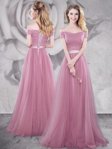 Off the Shoulder Pink Short Sleeves With Train Ruching and Belt Lace Up Prom Evening Gown
