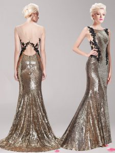 High Quality Mermaid Clasp Handle Square Sleeveless Prom Gown With Brush Train Appliques and Sequins Brown Sequined