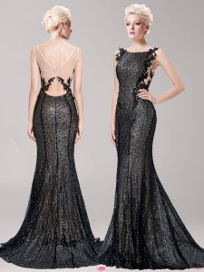 Fabulous Mermaid Black Prom Evening Gown Prom with Appliques and Sequins Square Sleeveless Brush Train Clasp Handle