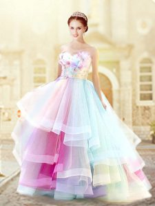 Organza Sleeveless Floor Length Prom Party Dress and Ruffled Layers and Hand Made Flower