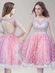 Scoop Lace Pink And White Sleeveless Knee Length Beading Backless Evening Dress