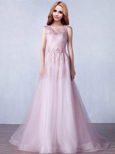 Scoop Pink Tulle Zipper Prom Dress Sleeveless With Brush Train Appliques and Hand Made Flower
