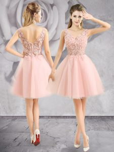 Edgy Baby Pink Sleeveless Tulle Zipper Evening Dress for Prom and Party