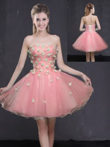 Fabulous Sweetheart Sleeveless Mini Length Appliques Pink Organza