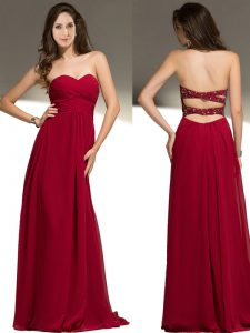 Deluxe Sleeveless Floor Length Beading Criss Cross Dress for Prom with Red