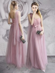 Amazing One Shoulder Lavender Tulle Lace Up Prom Evening Gown Sleeveless Floor Length Ruching and Bowknot and Hand Made Flower