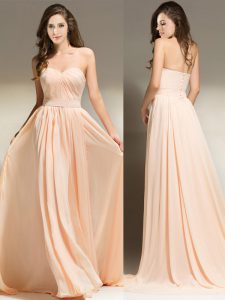 Chic Clasp Handle Sweetheart Sleeveless Homecoming Dress With Brush Train Belt Peach Chiffon