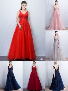 Red Backless V-neck Appliques and Belt Evening Dress Tulle Sleeveless Brush Train