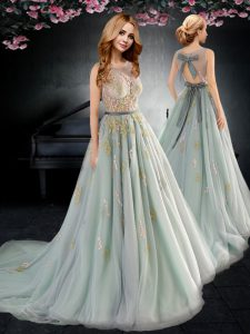 Scoop Apple Green A-line Appliques and Bowknot Prom Evening Gown Backless Tulle Sleeveless With Train