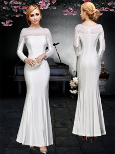 High Quality Off the Shoulder Backless Floor Length White Prom Dresses Elastic Woven Satin Long Sleeves Ruching