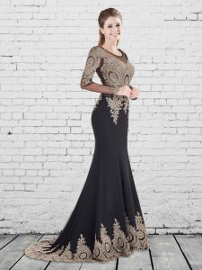 Top Selling Mermaid Black Lace Up Scoop Appliques Prom Gown Elastic Woven Satin Long Sleeves Brush Train